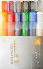 MONTANA CANS ACRYLIC MARKER PEN SET - 2mm FINE MARKERS - 12 PACK - COLOUR SET A