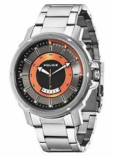 Caballero de la policía de Trooper De Acero Inoxidable Gris & Orange Dial Watch Pl 14382js/61m