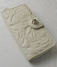 Brighton White Flower Embossed Rue De La Fleur Large Clutch Wallet