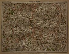 1898 LARGE VICTORIAN UK MAP : WARWICK BIRMINGHAM LEDBURY BANBURY COVENTRY