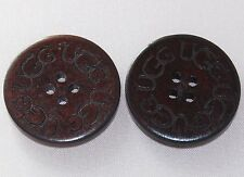 Two (2) Wooden Buttons for UGG boots, 1' round, Brown Color