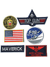 Maverick Top Gun Fancy Dress Iron on Patch -  Set of 6 Embroidered badges 01