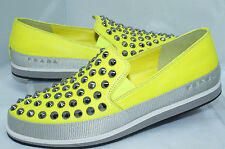 Prada Women's Shoes Flats Size 39.5 Nappa Sport Lux Tennis Yellow Loafers NIB