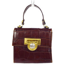 Auth GIANNI VERSACE Mini Hand Bag Medusa Embossing Leather Brown Italy 07K759