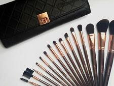 BH COSMETICS ROSE GOLD 15 PIECE BRUSH SET WITH QUILTED FAUX LEATHER CASE NEW