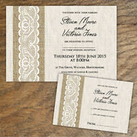 10 x PERSONALISED BURLAP & LACE STYLE WEDDING INVITATIONS + RSVP 10, 50 OR 100