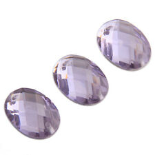100x Hot Selling Oval Light Purple Faceted Sew-on Flatback Embellishment Button