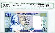 Cyprus … P-63c … 20 Pounds … 2004 … *AU-UNC*