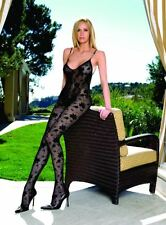 BLACK FLORAL LACE NET BODYSTOCKING CHAIN STRAP TV LEG AVENUE BODYSUIT PANTYHOSE