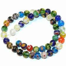 """G4246L2 Assorted Color Multi-Flower Millefiori 7mm Round Glass (48 Beads) 13"""""""