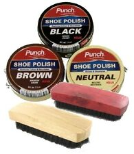 PUNCH SHOE BOOT POLISH CLEANING SET KIT - BLACK BROWN NEUTRAL & TWO BRUSHES