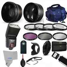 Professional Flash / Lens / Accessory Kit for Canon Rebel T5i T4i T3i ELAN1KISS4