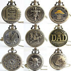 Antique Gift Vintage Bronze Tone Men Pocket Chain Quartz Pendant Watch Necklace