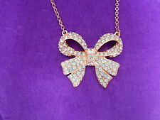 Betsey Johnson Authentic NWT Rose Gold Boost Crystal Bow Pendant Necklace