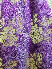 "Royal Purple & Gold Paisley Floral Metallic Brocade Fabric 60""W Tablecloth Drape"