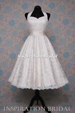 1552 short 50s 60s wedding dresses tea length knee lace halterneck champange