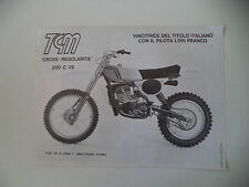 advertising Pubblicità 1978 MOTO TGM 250 CROSS C
