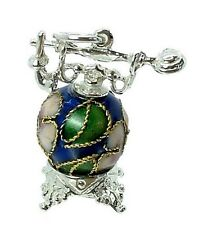 ARGENTO Sterling & CLOISONNE Antico Telefono Charm