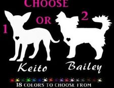 "Chihuahua silhouette personalized vinyl 6"" dog car decal sticker long hair or"