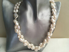 "19"" 2 Strand White Cultured Baroque Pearl Necklace 925 Silver Moonstone Clasp"