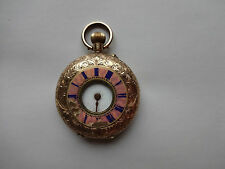 Antique 14 K Carat Gold Half Hunter Swiss Enamelled Fob Pocket Watch