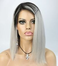 Virgin Ombre Grey Short Bob Indian Remy Human Hair Lace Front Wigs Black Women