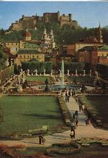 Alte Postkarte - Mirabellgarten - Im Hintergrund Dom und Hohensalzburg
