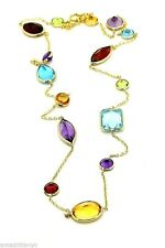 14K Yellow Gold Multi-Shaped Gemstones Necklace 20 Inches