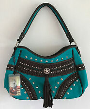 MONTANA WEST CONCEALED CARRY HANDBAG PURSE - TURQUOISE W/ BROWN FRINGE