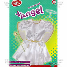 CHAD VALLEY ANGEL FAIRY DRESS UP COSTUME SET DRESS, WINGS HALO & WAND PRE SCHOOL