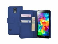 Wallet BLUE Leather Flip Case Cover Pouch Samsung Galaxy S5 SM-G900F/H/S/P/T/A/V