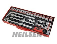 26Pc 1/2 inch Drive Socket Garage Tool Set in Metal Case Extendable Ratchet New