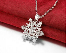 SILVER, PLATINUM PLATED CZ CRYSTAL SNOWFLAKE PENDANT NECKLACE WITH FREE CHAIN
