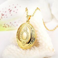 18K Gold Plated Oval Photo Locket Pendant Chain Necklace Valentines Love *UK*
