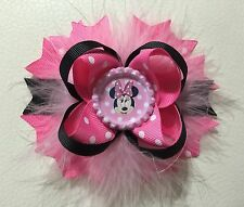Handmade Hot Pink Polka Dot Minnie Mouse Boutique Stacked Hair Bows