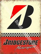 Vintage Garage Bridgestone Tyres, 153 Racing Motor Car Old, Large Metal/Tin Sign