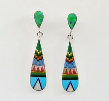 SWEET MULTICOLOR OPAL TURQUOISE LAPIZ INLAY 925 SILVER DANGLE TEARDROP EARRINGS