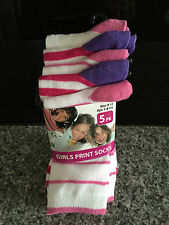 BNWT Girls Pack of 5 Cute Pink/White Crew Style Socks Size 9-12 Age 5-8 Years