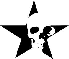 "Star Skull Decal Sticker Car Truck Window- 6"" Wide White Color"