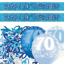 Blue Silver Glitz 70th Birthday Banner Party Decoration Pack Kit Set