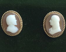 Antique Circa 1890 14K Gold Carved Shell Cameo Solid Back Post Screw Earrings