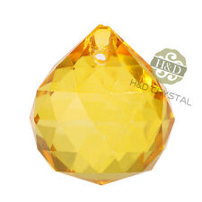 5 Yellow Crystal Glass Chandelier Light Ball Prisms Suncatcher Drop Pendant 20MM
