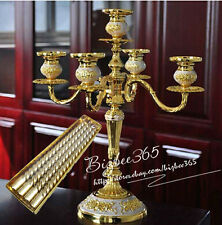 5 Arm Vintage Gold Plated Taper Candelabra Wedding Decor +5 Gold Candles As Gift