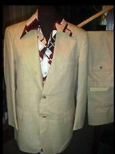 Vtg 70s MEN'S Disco Retro 3pc SUIT 40 w/34 PANTS & Polyester SHIRT Sport Coat