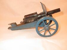 Vintage tin cannon, blue carriage, black gun, spring loaded, looks German