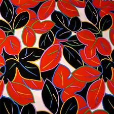 Vintage Tropical Print, Graphic Leaves Red, Black & White Cotton Fabric Per Yard