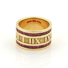 Tiffany & Co Atlas 1.75ct Ruby Roman Numeral 18k Yellow Gold Band Ring Size 6.25