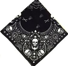 BLACK & WHITE SKULL #1 BANDANA PUNK COOL RETRO GOTH ROCK SHOW HEAD SCARF WRIST