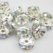 Free shipping Charm for jewelry 20pcs 8MM Plated silver crystal spacer beads New