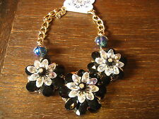 florales Designer Statement Collier Kette üppig gold schwarz Handarbeit Unikat